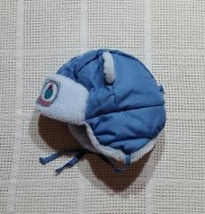р.44-46 Зимняя шапка-ушанка с ушками, Чудо кроха