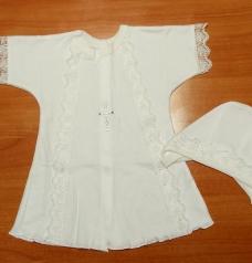 Крестильный комплект для девочки (рубашечка, косынка)