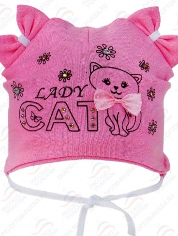 """р.42-44 Шапка """"Lady cat"""", стразы"""