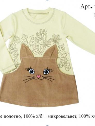 Платье для девочки с котиком
