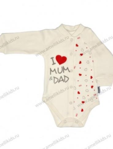 """Боди """"I love mum and dad"""", кнопки"""