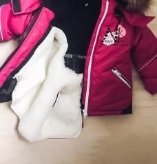 Комплект для девочки, Мембрана. Зима/Осень (съемн. мех. жилетка), Фуксия