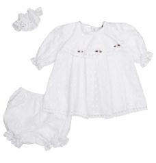 Комплект крестильный для девочки (платье,повязка, штанишки)